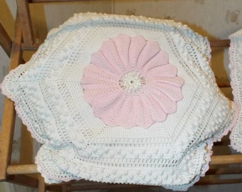 Two Vintage Hand Crocheted Ivory and Pink English Cottage Shabby Chic Two Pillows