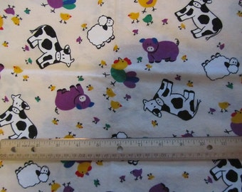 33 Inches Tan with Farm Animals Cotton Fabric