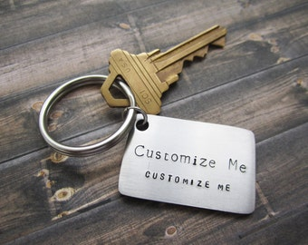 Engraved Keychain, Personalized Keychain, Stainless Steel Keychain, Quote Keychain, Hand-stamped Keychain, Customized Keychain