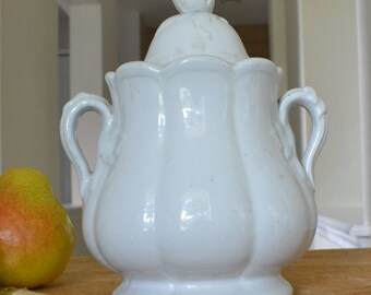 Antique English Ironstone Sugar with Lid, Footed, Shaped Handle, Figural Finial, 1800s