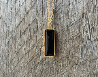 Black Crystal Necklace Swarovski Rectangle Pendant on Silver or Gold Chain Bridal Necklace