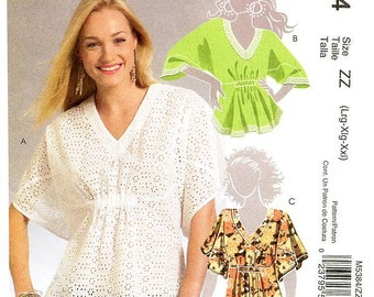 McCall's Top Pattern M5384 - Misses' Loose-Fitting V-Neck Top in Three Variations - Sz Lrg/Xlg/Xxl