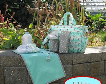 Diaper Bag with changing pad, bottle bags and stroller straps PDF Pattern (LJ107)