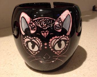Dark Kitty Ceramic Yarn bowl