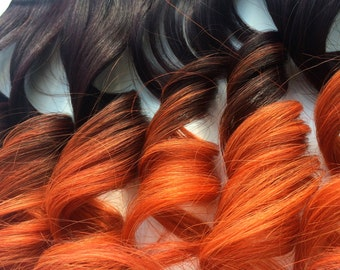 Human hair black to silver grey ombre full set clip in human hair phoenix colored dark auburn to orange ombre full set clip in extensions double weft remy human hair extensions ready to ship pmusecretfo Images