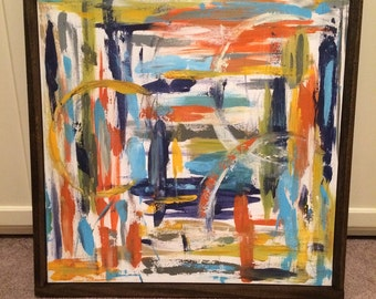 24x24 framed abstract canvas