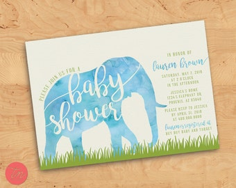 Printable 5x7 Watercolor Elephant Baby Shower Invitation. Gender neutral baby shower.