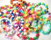 FREE US SHIPPING 20 Kandi Rave Bracelets, Cute Random Neon Rainbow Kawaii Happy Bracelets Pack