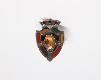 Antique Scottish Silver Heraldic Ring - Citrine - Garnets - Assorted Agate Inlay