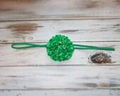 St Paddy's Day Satin Flower Skinny Elastic Headband/St Patricks Day Flower Headband/Infant, Toddler, Girls Satin Flower Headband or Clip