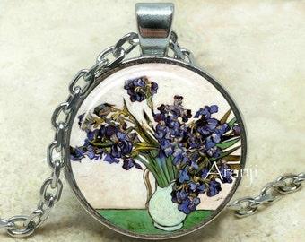 Vincent Van Gogh - Still life: Vase with Irises, Van Gogh pendant, Iris, Van Gogh necklace, Van Gogh, Pendant #AR111P