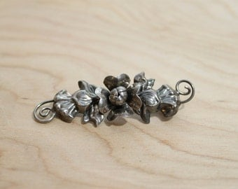 Arts&Crafts Handmade Sterling Repousse Floral Blossom Flower Brooch Pin
