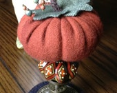 Pumpkin Pin Keep, Pin Cushion, Make-Do, and Home Decor ~ (Ceramic Base ~ Rust, Olive, Black and Cream Diamond Pattern)