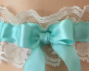 Aqua and Ivory Lace Wedding Garter, Bridal Garter, Prom Garter, Garter Belt, Lace Garter, Plus Size Garter
