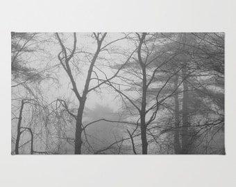 Woodland Fog Black & White Area Rug, woodland rug, forest rug, tree area rug, small area rug, 4'x6' area rug, 2'x3' rug, black white rug