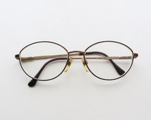 90s Anne Klein Eyeglasses Red Tortoise Shell Wire Rim Small Oval Frame
