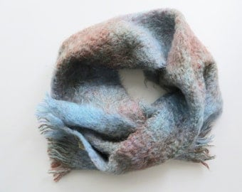 70s Eaton's Mohair Scarf Andrew Stewart Vintage Accessories Blue and Mauve Brown Knit Made in Scotland