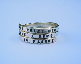 Fleetwood Mac Handstamped Sterling Silver Ring, She rules her life like a bird in flight. 925