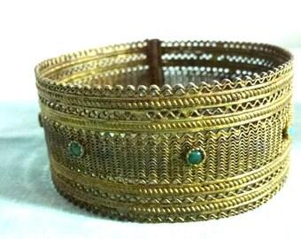bronze turquoise bracelet- chunky jewelry