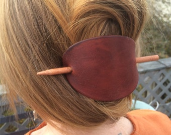 Gift for Her, Hair Barrette, Hair Stick, Leather Hair Accessories , Large Leather Hair Barrette, Leather Stick Barrette