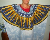 SUNBEAM ASTROLOGY GALAXY Kaftan, Caftan or Dress for Plus Size or Full Figure - Blue Skies, with Sunbeams on a Wide Yoke - One size