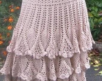 Crochet Long Skirt To Order FREE SHIPPING