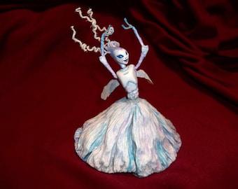 "Winter Wood Sprite Fairy Ballerina ""Lady Dee Winter"" - Hand Sculpted Figurine - OOAK - BEAUTIFUL!!"
