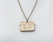 Laser Cut Wooden Camera Necklace