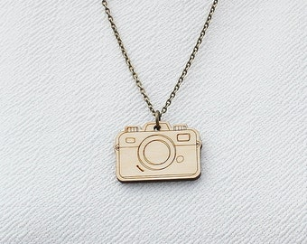 Laser Cut Wooden Camera Necklace