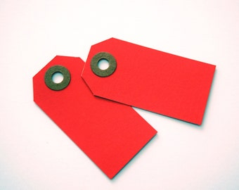 Small Red Gift Tags Hang Tags Shipping Tags Pack of 50. Gift Wrap. Party Favor Tags