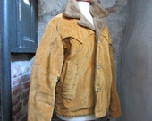 RESERVED 70s Cal Craft Lined Western Corduroy Coat in Gold Mustard, Men's M Women's L // Vintage California Cowboy Winter Jacket