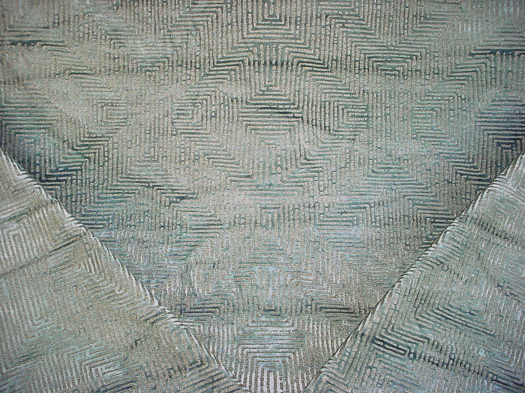 1 1 2 yards nobilis of paris 10510 plazza dazzling aqua geometric velvet drapery upholstery. Black Bedroom Furniture Sets. Home Design Ideas