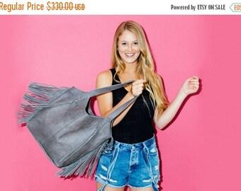 Grey leather Purse, Laptop tote, Soft leather bag, Fringe bag, Zipper Bag, Large leather bag, Womens purses, Leather shoulder bag, Handmade