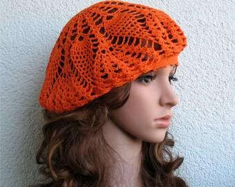 Crochet Summer beret Womens hat Orange Linen beret hat Women Summer hat Women linen Slouchy Orange Beret Tam Hat