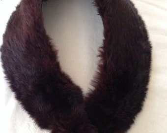 Mid-Century Vintage Brown Fur Collar, 32 inches long