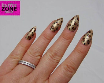 Hand Painted Press On False Nails, Gold With Leopard Print, Stiletto Long Length