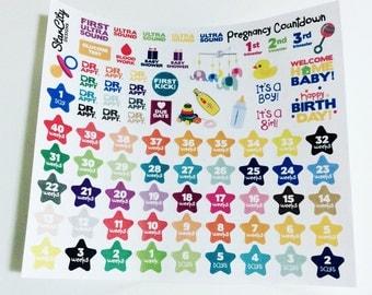 Pregnancy Countdown Stickers, Pregnancy Planner Stickers, Baby Countdown Stickers, Pregnancy Tracker, Tracker Stickers, Sticker Sheet