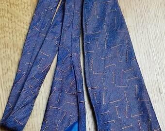 1920s Cobalt Blue & Copper Brocade Silk Iridescent Neck Tie