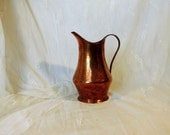 Vintage French handmade copper pitcher, water shuttle, jug
