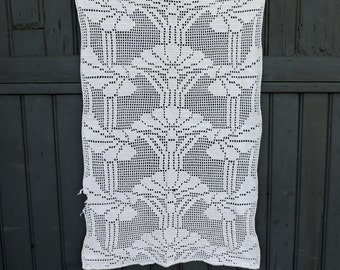 A vintage French, hand made, crochet lace curtain panel, cafe curtain