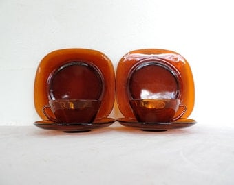Vereco breakfast set for two cups, saucers, and side plates, square dark amber glass