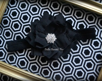 SALE - BLACK Chiffon Flower with Rhinestone on Elastic Headband, Clothing Accessory for Baby and Toddler Girls, Photo Prop