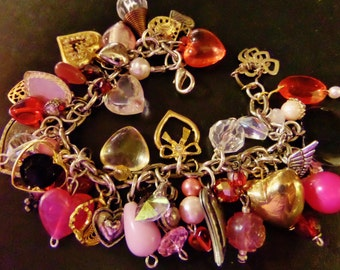 """Upcycled """"Charmed To Be your VALENTINE"""" bracelet"""