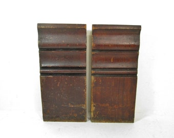 Wood Molding Pair Architectural Salvage Baseboard Molding