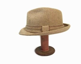 Vintage Stetson Fedora Hat Brown Tweed Rockabilly Hat 7 1/8