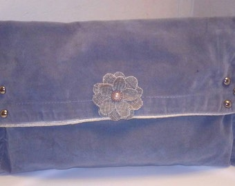 """Large party evening bridal clutch in gray velour, """"Gi Gi"""""""