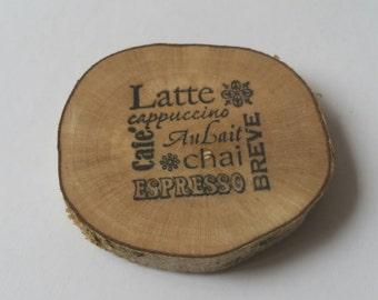 Coffee themed wooden fridge magnet, latte, cappuccino, chai, expresso, kitchen decor, fridge magnet, refrigerator magnet
