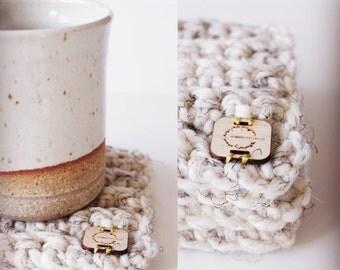 Coaster . Crochet . Wool Acrylic Blend Coaster . Multiple Colors . Set of 3