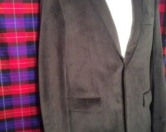 37 R grey velvet blazer with black trim. Single vent black satin buttons Hallensteins Brothers
