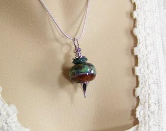 Lampwork Glass Necklace, Boro Bead Necklace, Pendulum Necklace, Dowsing Pendant, Borosilicate Glass Bead, Pendulum Pendant, Earth and Sky